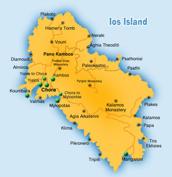 A map of Ios Island, Cyclades, Greece