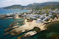 Overview of Pollonia village in Milos