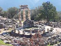 Overview of the archeological site of Delphi