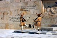 The monument for the unknown soldier in front of the Greek Parliament.